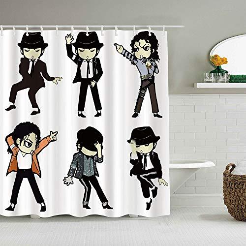 Kgblfd Personalisierter Duschvorhang,Michael Jackson Zeichentricksänger,wasserabweisender Badvorhang für das Badezimmer 180 x 180cm