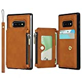 Zouzt [Bloqueo RFID ] Estuche para Monedero para Samsung Galaxy S10e Estuche Tipo Billetera Estuche con Soporte para Tarjetas Correa de Mano Estuche de Cuero PU de Primera Calidad Brown