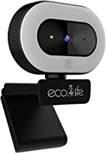 eco4life 1080p HD Webcam with Ring Light, Auto Focus and Directional Noise Cancelling Mic.