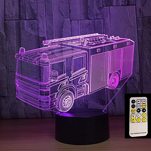 MQJ Camión de Bomberos Lámpara de Ilusión 3D para Niños Niños Niñas Regalo 3D Noche de Noche para Dormitorio Al Lado de la Mesa, 16 Colores Cambiando de Color Lámpara de Humor Lámpara de Mesa Regalo