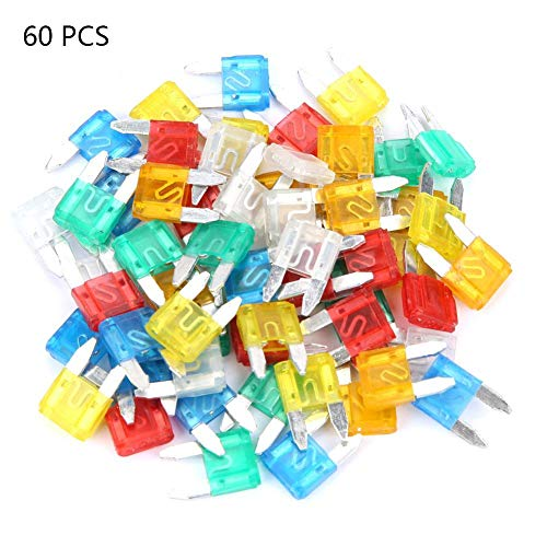 ZJchao 60pcs Multicolor Profile Small Size Mini Blade Fuse Assortment Auto Car Truck Fuses Set Automotive Replacement Fuses(1611.54mm)