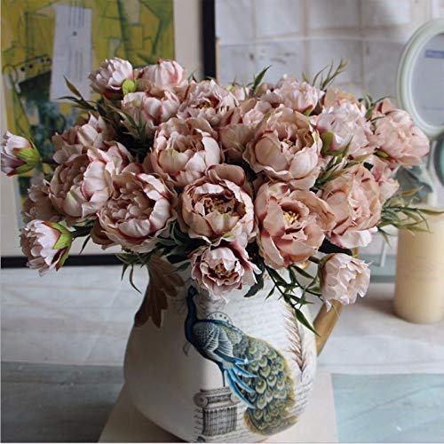 Lanyifang 2 Ramas Flores Artificial Europea de Mini Peonía Flor de Seda Marrón/Azul/Rosa Flores Falsas para Boda, Fiesta, Ramo de Novia, Hogar, Decoración, Accesorios de Fotografía (Marrón)
