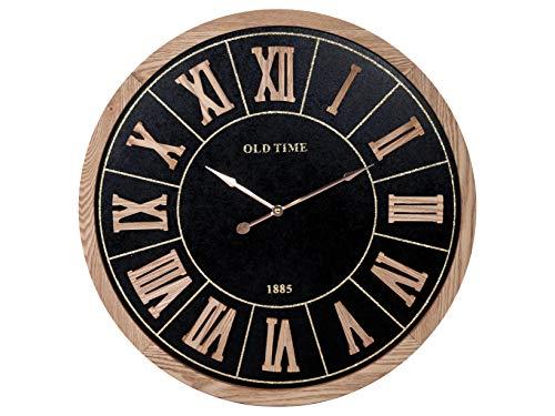 H & H wandklok, rond, goudkleurig, 60 cm, zwart