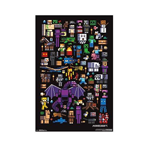 Minecraft Mobbery Poster Leinwand Poster Wandkunst Dekor Druck Bild Gemälde für Wohnzimmer Schlafzimmer Dekoration 30 × 45 cm ohne Rahmen