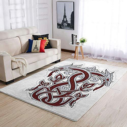STELULI Alfombra de área de dragón vikingo, fácil cuidado, 91 x 152 cm, color blanco