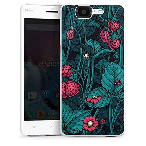 DeinDesign Hard Hülle kompatibel mit Wiko Highway Schutzhülle weiß Smartphone Backcover Erdbeere Blumen Natur