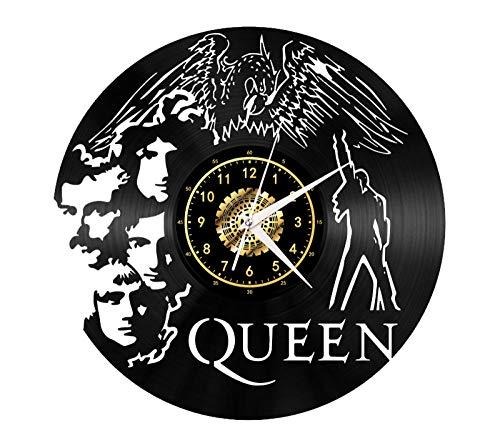 SKYTY Reloj de pared de vinilo clásico Queen – Retro Atmosphere Silhouette Record hecho a mano regalo fresco decoración del hogar sin luz LED 12 pulgadas