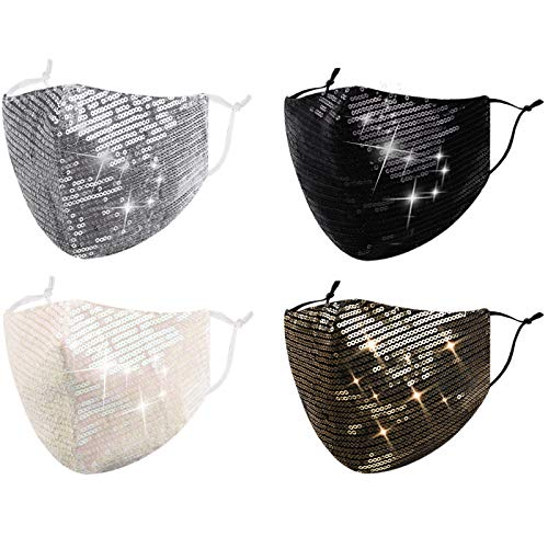 Reusable Sequin Face Mask Women Female Adult Glitter Sparkly Bling Washable Designer Fashion Cute Pretty Breathable Adjustable Sparkle Bedazzled Fancy Decorative Black White Gold Silver Gift For Women