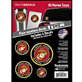 OFFICIALLY LICENSED U.S. MARINE CORPS DECALS - 4 Piece US Military Stickers For Truck or Car Windows, Phones, Tablets & Laptops – Large Military Decals 1.75 to 4 Inches Car Decals Military Collection