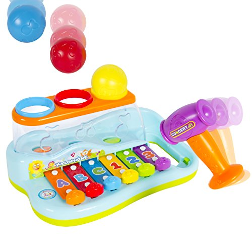 Best Choice Products Musical Rainbow Xylophone Piano Pounding Bench for Kids with Balls and Hammer