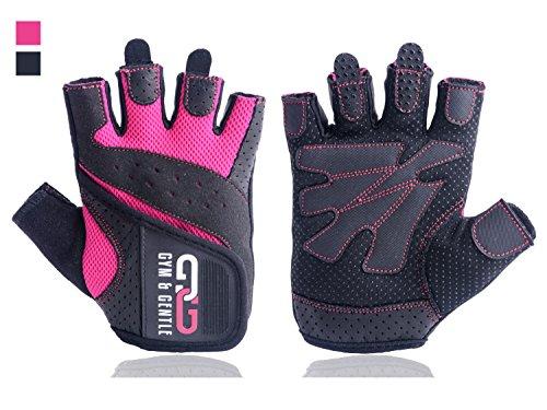 Gym & Gentle Guantes de fitness para hombre y mujer, guantes de entrenamiento, muñequera, entrenamiento de fuerza, culturismo, crossfit (rosa, L)