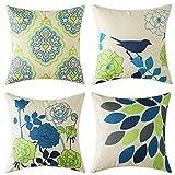 MIULEE Pack Von 4 Dekorative Vogel und Blumenmuster Frühling Thema Kissenbezug Kissen Fällen...