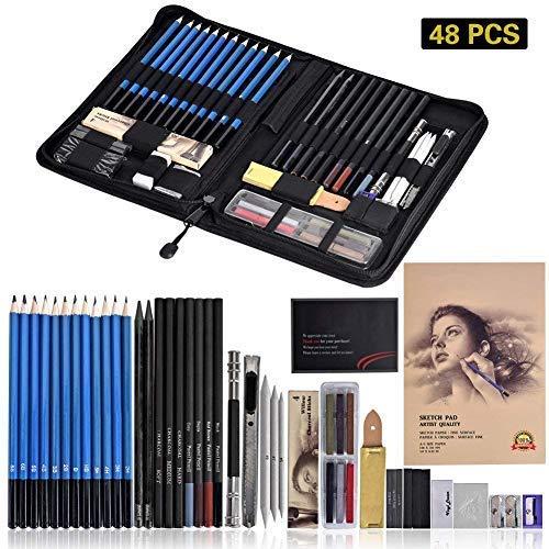 Queta Bleistift Zeichnen Set,48 Stück Skizzierstifte Set Zeichnen Professionelle Art Set für Carbon-Lackierung, Skizzieren und Zeichnen Profi Art Zeichnen für Anfänger, Künstler, Kinder