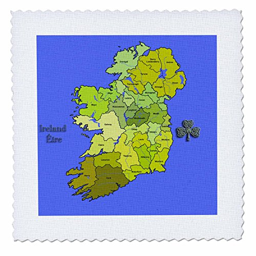 3dRose qs_110030_10 Colorful Green Map of All Ireland, Irish Republic and Northern Ireland with All Counties Shown-Quilt Square, 25 by 25-Inch