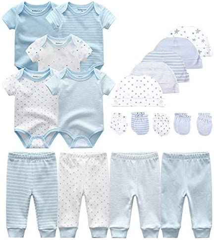 Chamie Baby Bodysuits Newborn Clothes Accessories Set Short Sleeve Onesies Baby Clothes Caps product image