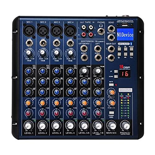 FENXIXI Bluetooth USB Record 8 Canales(4 Mono +2 estéreo) 16 Efectos DSP USB Profesional DJ Mezclador