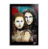 Jon Snow y Ygritte de Game of Thrones (Juego de Tronos) - Pintura Enmarcado Original, Imagen Pop-Art...