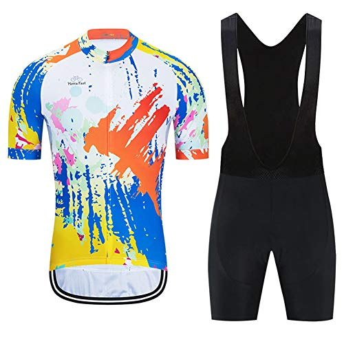 Sommer Herren Radfahren Jersey Kurzarm Racing Club Pro Strava Graffiti - Road Mountain Bicycle Outdoor Bike Jersey, Schnelle Trockenkompressionskombination (Color : A, Size : XXX-Large)