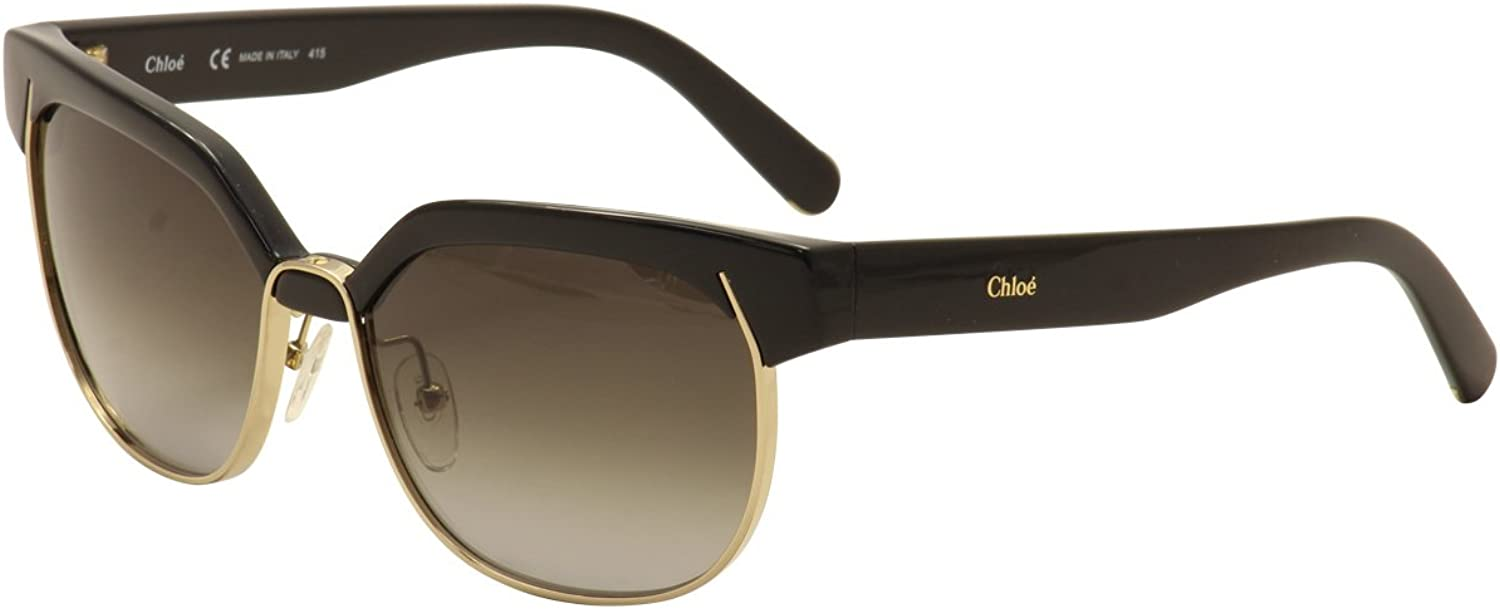 Chloe Round Metal Mix Sunglasses in Black CE666S 001 57 57 Gradient Grey