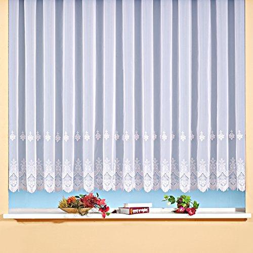 Voile-Fertig-Store mit Stickerei, transparent, Farbe weiß Größe HxB 145x450 cm