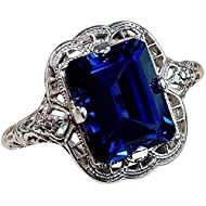 Huge Natural 3.5Ct Tanzanite 925 Silver Ring Women Wedding Engagement (mazarine #6)