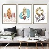 Cultura Marina nórdica Tabla de Surf Paisaje Marino pájaro Animal Lienzo de Dibujos Animados decoración de la habitación de los niños,Pintura sin Marco,50X75cmx3