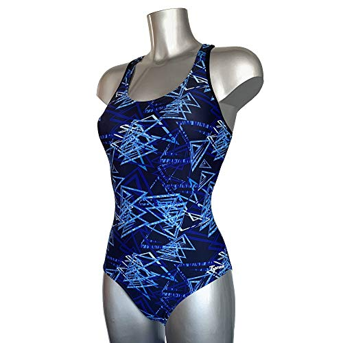 Tyron Badeanzug Delta Blue Art (blau)   Badeanzug für Damen & Mädchen   Sport Badeanzug für Training und Wettkampf   Schwimmanzug   Schwimmsport