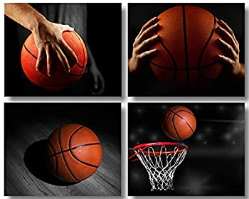 Basketball Poster Black and White Sports Decor Wall Art Prints Fine Painting Unframed Poster Art Work for Gym Teenage Boy Room Decor Bedroom Boys Gift Set of 4  8x10in
