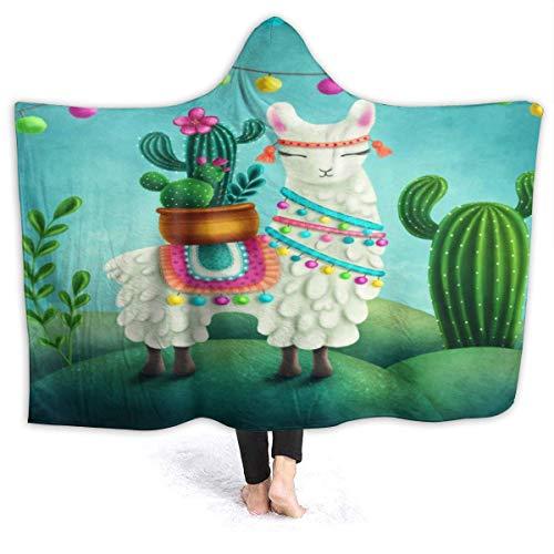 NOBRAND Manta De La Siesta Felpa Sofás Franela Franela Linda Llama Cactus Planta Tropical Buen sueño L127cm x W102cm