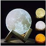 Impresión 3d lampara luna - 15cm recargable patrón de superficie lunar lampara luna llena con la carga del USB y 3 colores que cambian,lampara forma luna para los