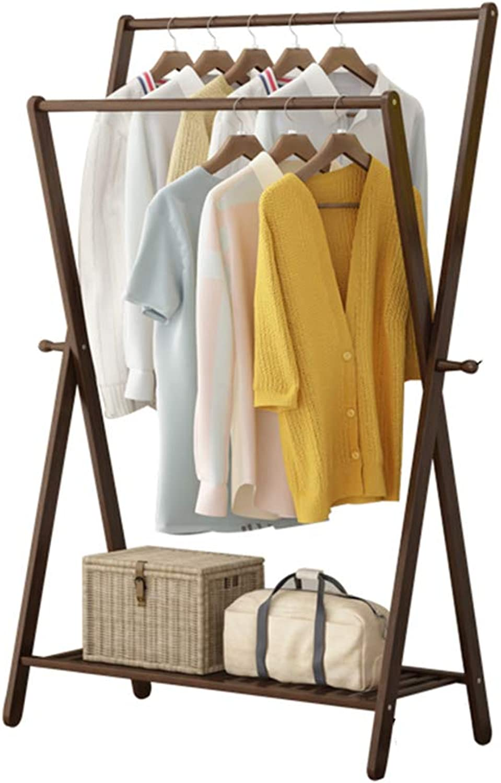 ZHIRONG Multifunction Double Pole Bamboo Coat Rack Living Room Bedroom Balcony Hangers Drying Rack Storage Shelf shoes Rack (Size   60  43  155cm)