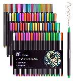 80 colores Fineliner Color Pen Set 0.4mm Sketch Drawing Plumas, marcadores de coloreado de punta fina para Bullet Journal Planner Coloring