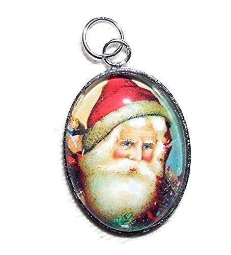 VINTAGE SANTA CLAUS Charm Pendant Silver Pltd GLASS Covered CHRISTMAS