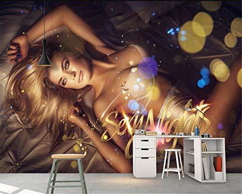 Mural,Papel Tapiz Mural 4D Personalizado,Mujer Sexy Belleza Mural Salón Dormitorio Fresco Photo Tv Sofa Hotel Discoteca Ktv Seda De Fondo La Pintura De La Pared Wall Papers Poster,250Cm(H)×360Cm(W)
