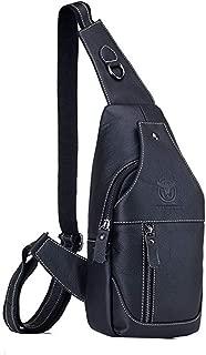 Men's Shoulder Bag, Popoti Sling Bag Leather Backpack Chest Bag Daypack Handbag Sports Bags Crossbody Outdoor Hiking Travel Messenger Bag (Black)