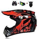 Dirt Bike Helmet, DOT Approved Motocross Helmet Off Road ATV Helmet Motorcycle Helmet MX MTB BMX Downhill Helmet for Men Women with Goggles Neck Gaiter Gloves,Black red,M