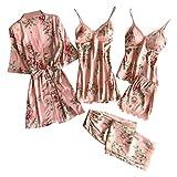 WOZOW 5 Pc Dentelle Satin Robe Peignoir Pantalon Shorts Lingerie Ensemble Pyjamas Vêtements De Nuit Cinq Pièces pour Femmes Chemise Comfy Flatteur à Manches Longues(Rose,S)