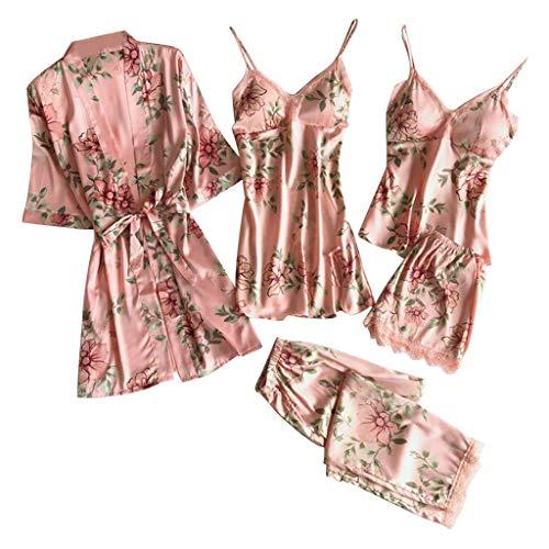 ReooLy Bata de satén de Encaje Sexy Albornoz Pantalones Cortos Ropa Interior Conjunto de Pijamas(C-Rosado,XXL)