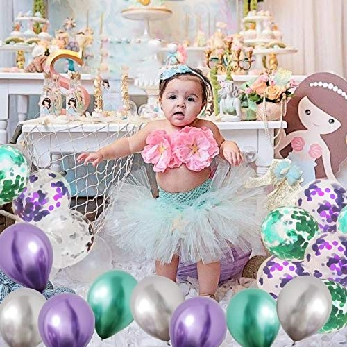 Mermaid Party Balloons, Green Purple Metallic Balloons with Glitter Confetti Clear Sparkle Decorations with String for Baby Shower Birthday Party Supplies (Set of 32)