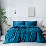 ZONDAWIND 3-Piece Egyptian Cotton Duvet Cover Queen with Zipper Closure, High Thread Count Long Staple Sateen Weave Silky Soft Breathable Pima Quality Bed Linen-Queen,Turkish Teal