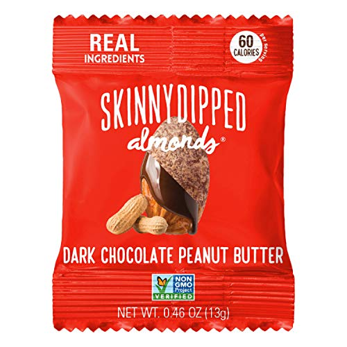 SKINNYDIPPED Dark Chocolate Peanut Butter Covered Almonds, 0.46 Ounce (Pack of 24)