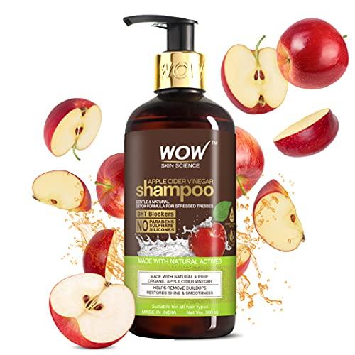 WOW Champú de vinagre de sidra de manzana, 300 ml, sin sulfato, sin parabenos, vinagre de sidra de manzana natural infundido.