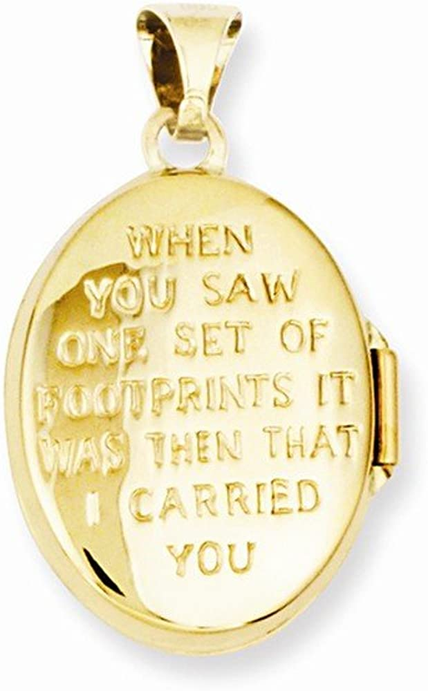 14k Yellow Gold White Footprints Photo Pendant Charm Locket Chain Necklace That Holds Pictures Oval Fine Jewelry For Women Gifts For Her