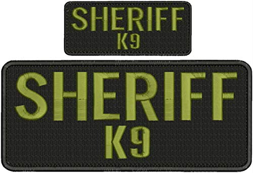 Embroidered Patch - Patches for Women Man - Sheriff k9 Hook on Back od Green Letters