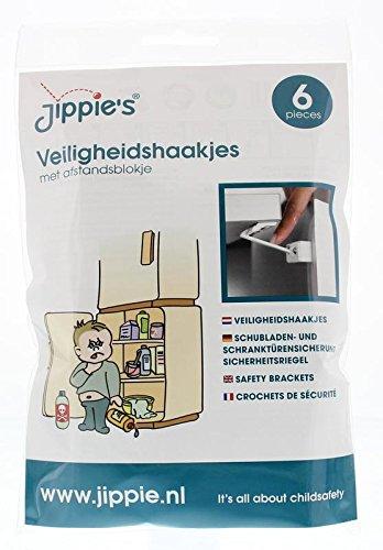 Jippie's 83613 - Chiavistello di sicurezza per cassetti e armadi, colore: Bianco