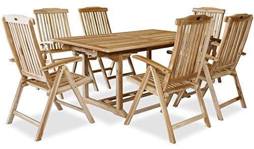 KMH mbH KMH®, Teak Gartensitzgruppe mit ausziehbarem Gartentisch für 6 Personen (#102206)