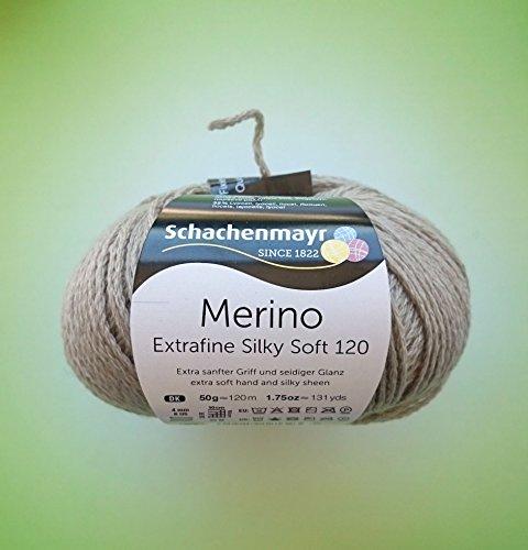 Schachenmayr 50 Gramm Merino Extrafine Silky Soft 120 Fb. 505 Beige aus 68 % Schurwolle, 32 % Lyocell