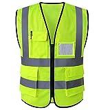 WUIO Chaleco de alta visibilidad Chaleco de seguridad con bolsillos y bolsillos para identificación y blusa sin mangas con cremallera (L/XL -Amarillo/Naranja) (Color : Yellow, Size : Large)
