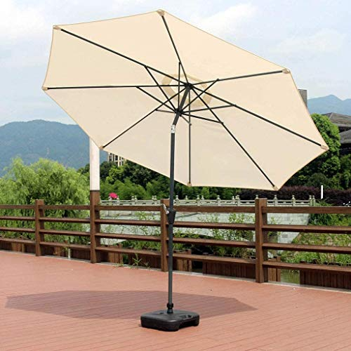 HLLL Parasols Patio Umbrella, 3M Cantilever Hanging Sun Parasol Banana Parasol with/Crank System 8 Sturdy Ribs Outdoor Table Umbrella for Beach/Pool/Garden (Base Not Included),Beige