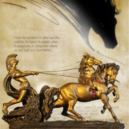 feiren Estatua de carros espartanos romanos antiguos, modelo de decoración vintage para el hogar, colección de resina, manualidades, bar, decoración de escritorio (color: 1 unidad)